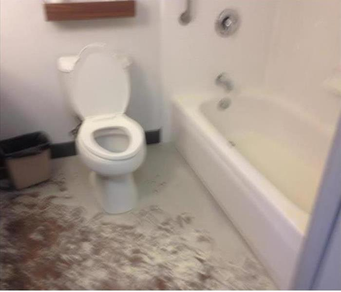 Fire extinguisher dust and debris in bathroom around toile